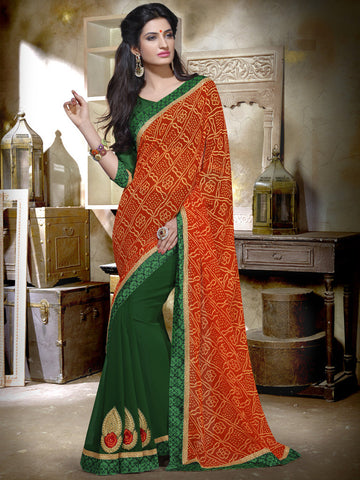 Green Saree with bandhej printed pallu
