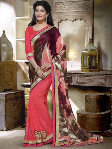 Pink saree with printed pallu
