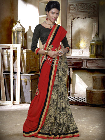 Multicolored georgette saree with plain pallu and contrasting blouse