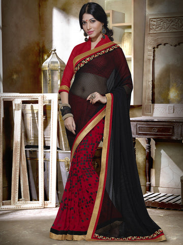 Printed net saree with black pallu
