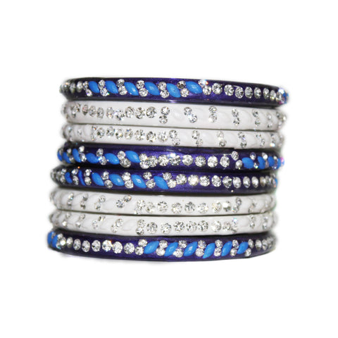 White and Blue glass bangles