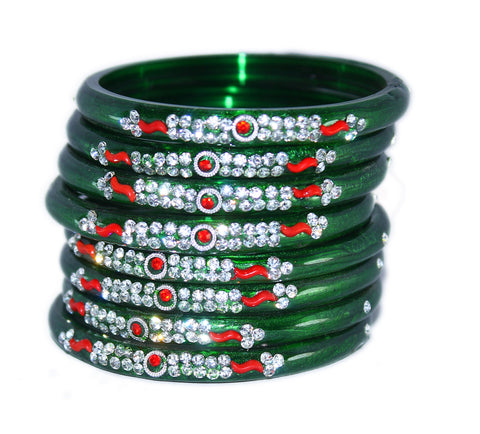 Designer Glass Bangles Set of 8 for woman