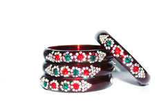 Maroon dailywear glass bangles set for woman