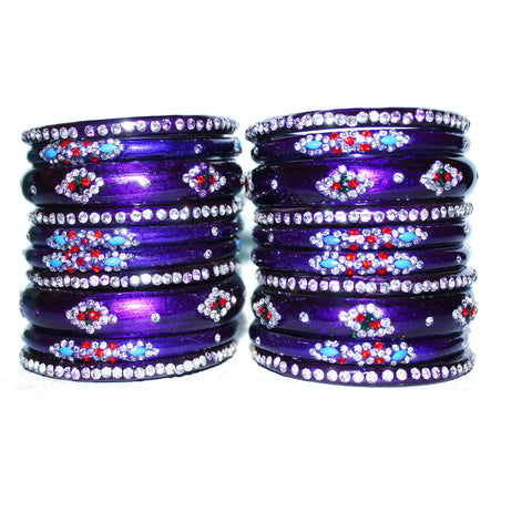 Set of 16 glass bangles with work of gems and beads