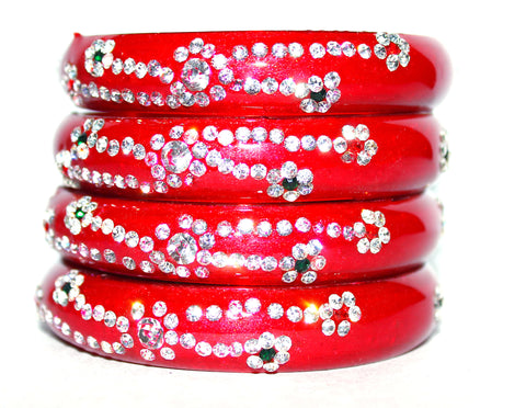 Red Beaded Glass Bangles for every occasion