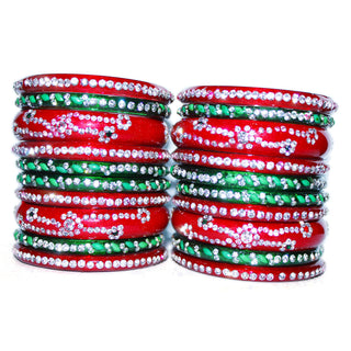Maroon and Green Glass  Bangles set of 20