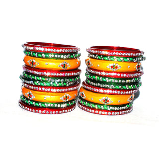 Bridal Chura Glass Bangles set of 44 bangles in 6 design