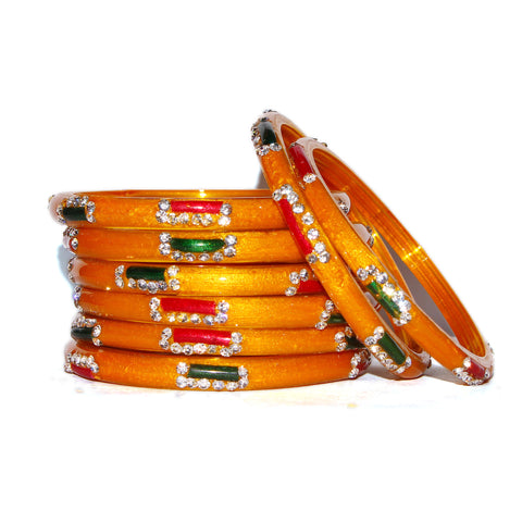 Yellow Designer Handmade Glass Bangles with Bead Work