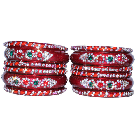 Red Glass Bangles Set with bead and gems work