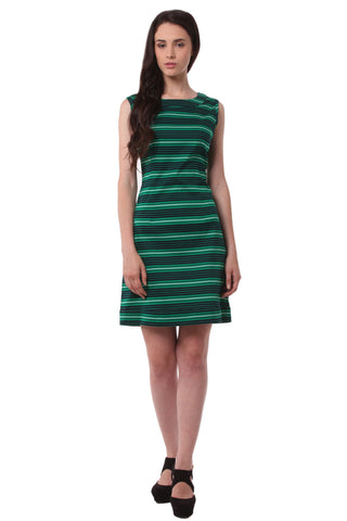 Green with Black Stripe Midi Dress DN 1002
