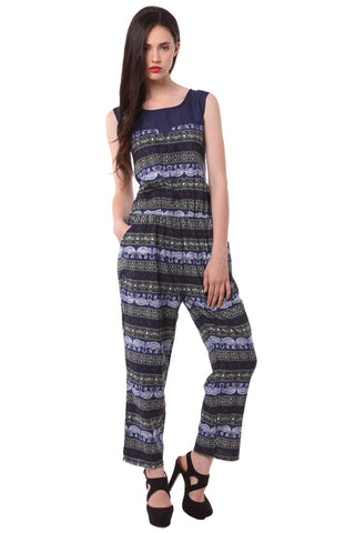 Blue Printed Jump Suit 1125