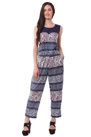Blue Printed Jump Suit 1127