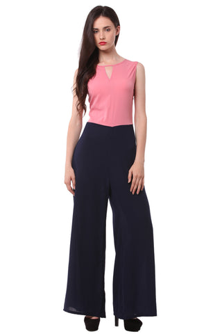 Pink and  Blue Solid Jump Suit 1128
