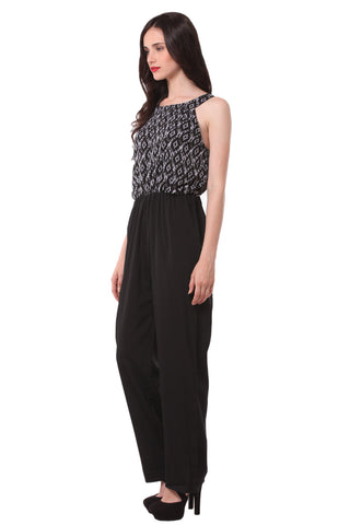 Black Printed Sleeveless Jump Suit 1132