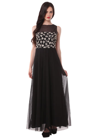 Black and Printed Maxi Dress DN 1019