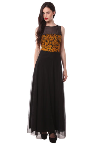 Yellow Black Printed Maxi Dress DN 1020
