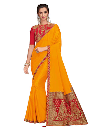 Mustard Poly Silk Party Wear Saree With Red Blouse