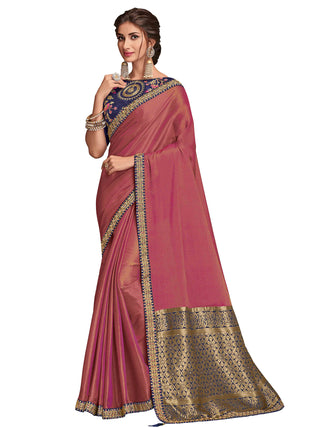 Rose Gold Poly Silk Party Wear Saree With Navy Blue Blouse