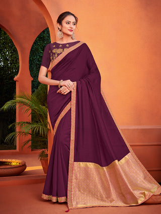 Purple Silk Party Wear Saree With Blouse