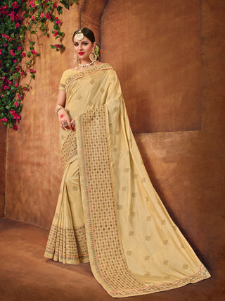 Beige Two Tone Silk Saree With Beige Blouse