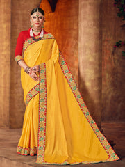 Yellow Two Tone Silk Saree With Red Blouse