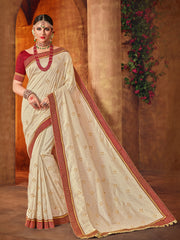Off White Silk Saree With Maroon Blouse