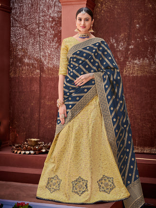 Light Green Violet Silk Party Wear Lehenga With Light Green Choli
