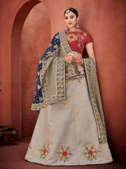 Brown Navy Blue Silk Party Wear Lehenga With Red Choli