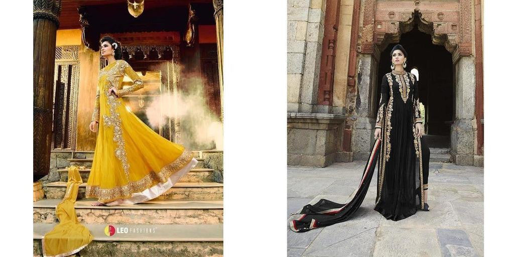b9832225a64 Yellow backless designer partywear anarkali suit with work and Designer  Wedding Black Georgette Bridal suit Combo Offer