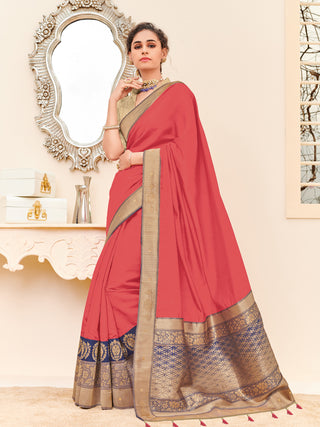 Red Tasar Satin Party Wear Saree With Blouse