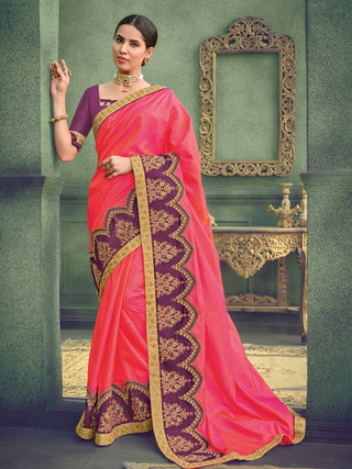 Pink Two Tone Silk Party Wear Saree With Purple Blouse