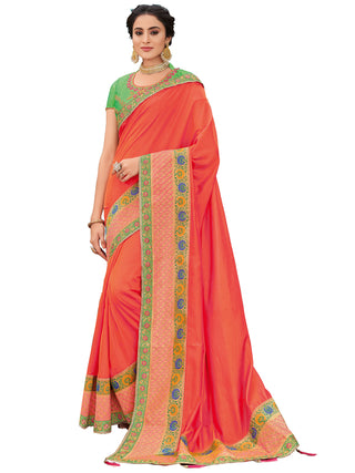 Orange Silk Party Wear Saree With Green Blouse