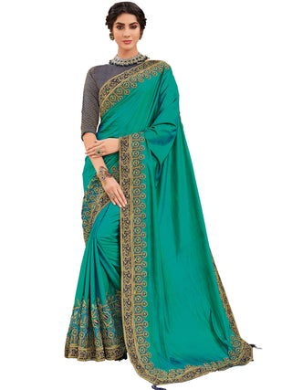 Green Silk Party Wear Saree With Violet Blouse