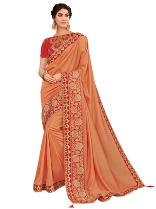Peach Silk Party Wear Saree With Red Blouse