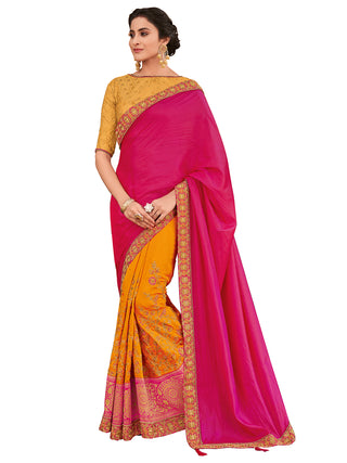 Magenta Yellow Silk Party Wear Saree With Yellow Blouse