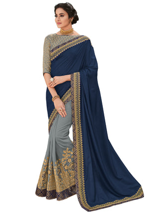 Violet Grey Silk Party Wear Saree With Grey Blouse