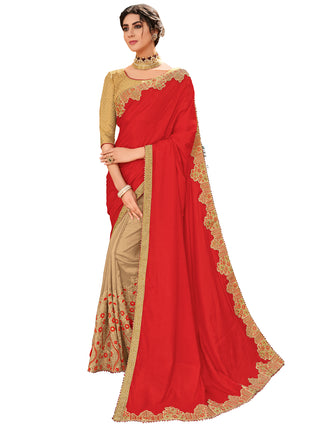 Red Beige Silk Party Wear Saree With Gold Blouse