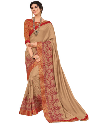 Beige Silk Party Wear Saree With Multi Blouse