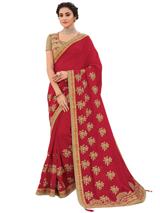 Red Silk Party Wear Saree With Multi Blouse