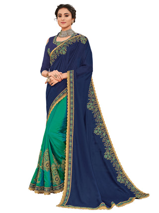 Violet Green Silk Party Wear Saree With Violet Blouse