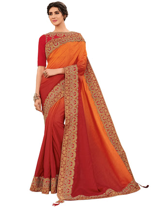 Orange Red Silk Party Wear Saree With Orange And Red Blouse