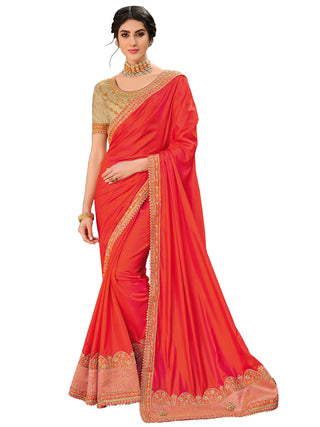 Orange Silk Party Wear Saree With Gold Blouse