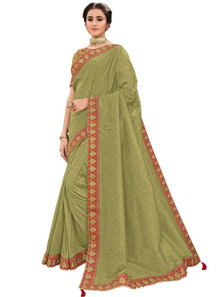 Green Silk Party Wear Saree With Gold Blouse