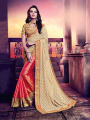 Orange & Beige Net Saree With Beige blouse
