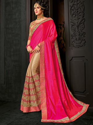 Pink & Beige Two Tone Silk Saree With Golden Saree