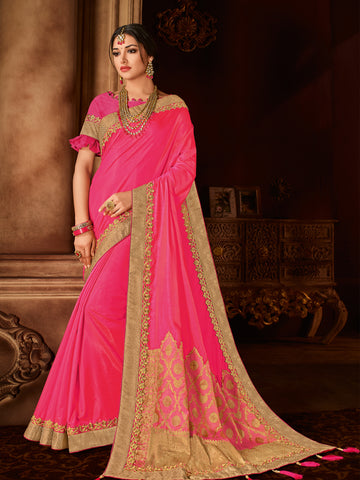 Pink Silk And Jacquard Party Wear Saree With Pink Blouse