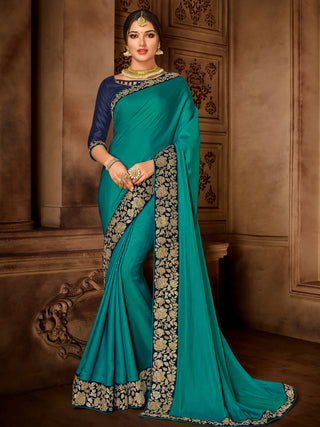 Green Satin Silk Party Wear Saree With Violet Blouse