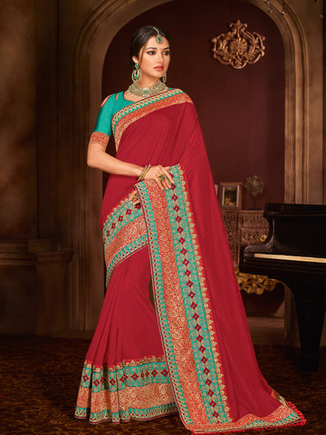 Red Silk Party Wear Saree With Green Blouse