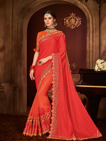 Red And Orange Silk Party Wear Saree With Orange Blouse