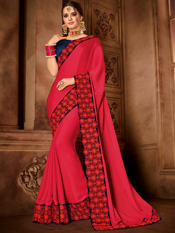 Red Satin Silk Party Wear Saree With Violet Blouse
